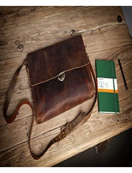 brown distresses leather laptop bag