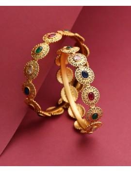 Multi colored stone gold plated bangle