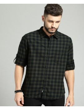 Men-Black-Regular-Fit-Checked